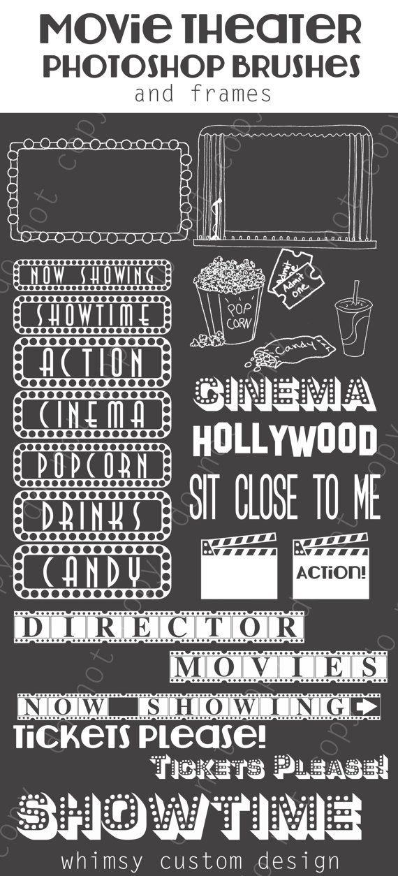 Movie Theater Cinema Photoshop Brushes Word Art Set / Chalkboard.