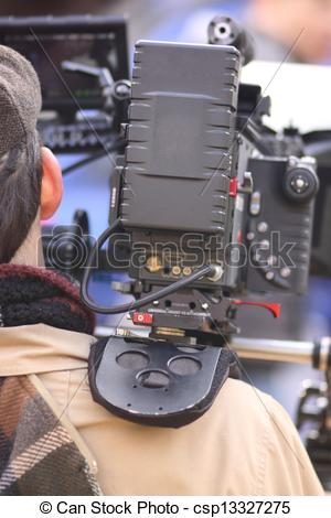 Picture of Digital cinema camera on a movie set. csp13327275.