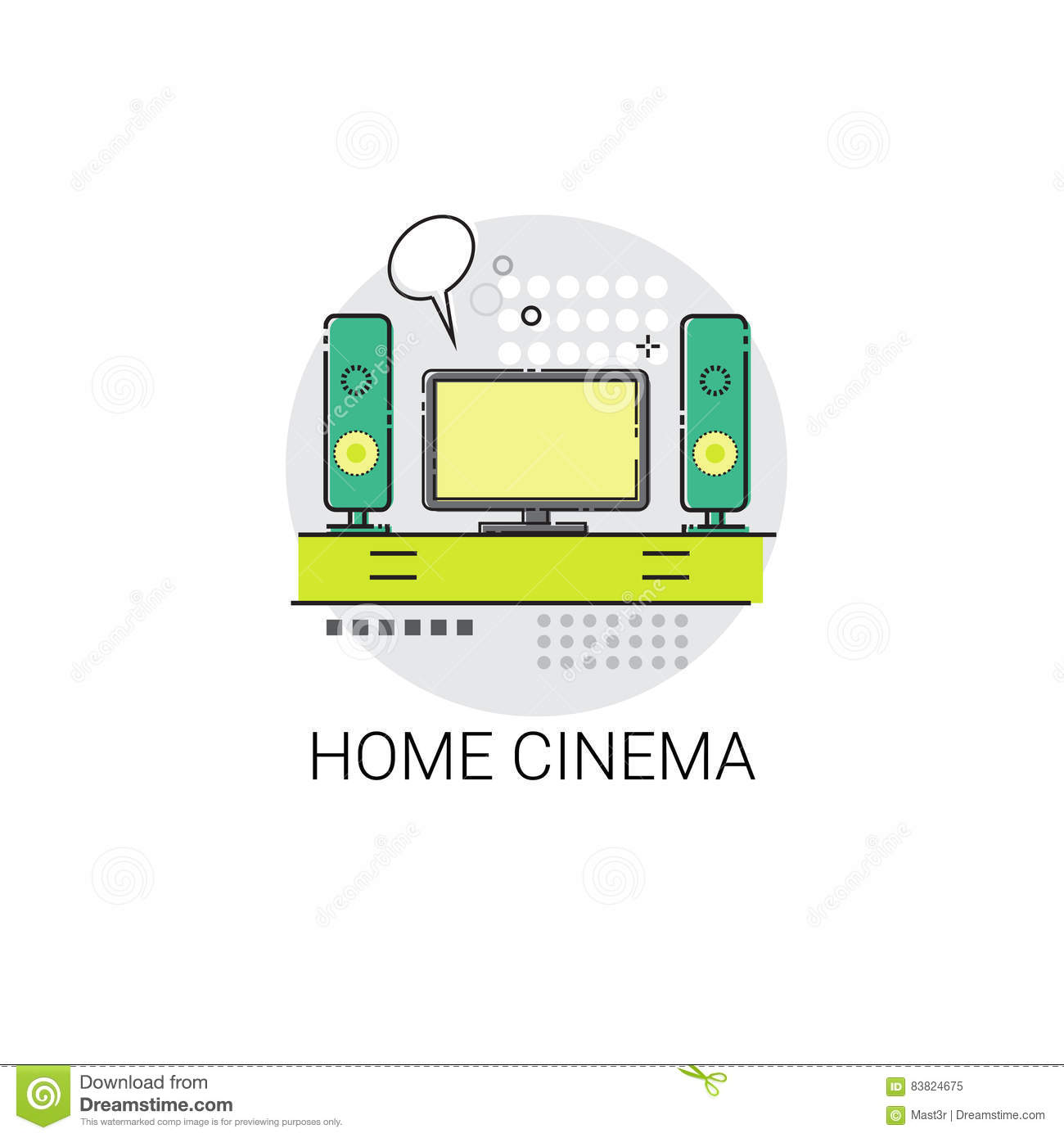 Screen Tv Home Digital Cinema Audio Speaker Set Icon Stock Vector.