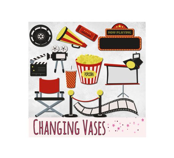 Digital Scrapbooking Kit Movie Clipart Cinema Clip Art Graphics.