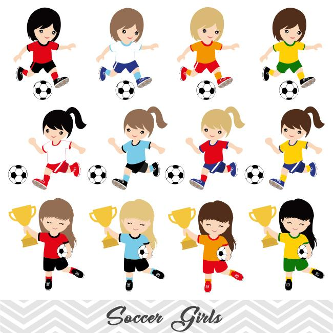 Girls Soccer Digital Clip Art, Sport Girls Soccer Team Clipart, 00257.