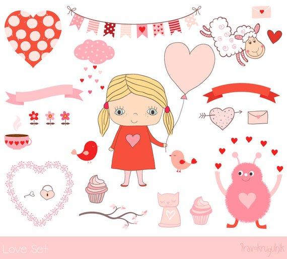 Love clipart collection, Hand drawn Valentine clip art.