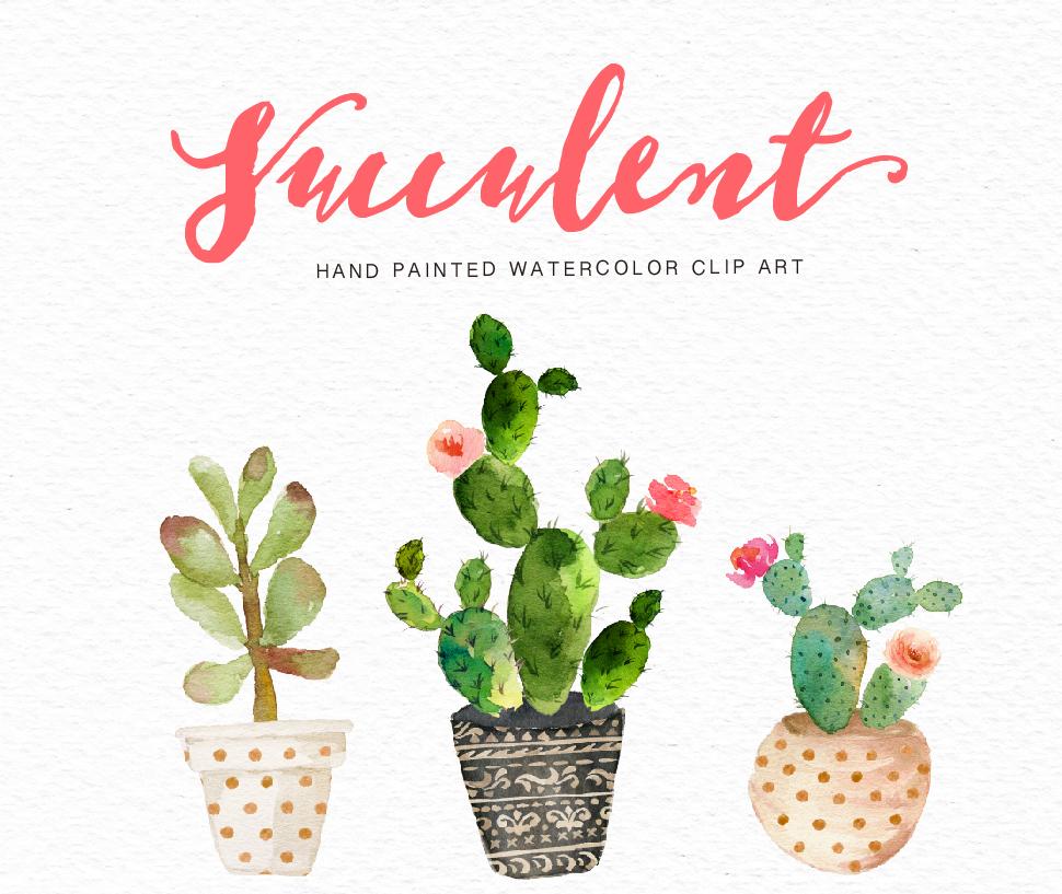 Watercolor succulent clip art collection on Behance.