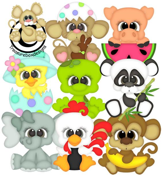 Critter Cuties Collection, vector graphics, digital clipart.