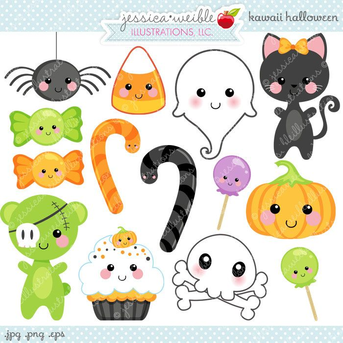 Kawaii Halloween Cute Digital Clipart.