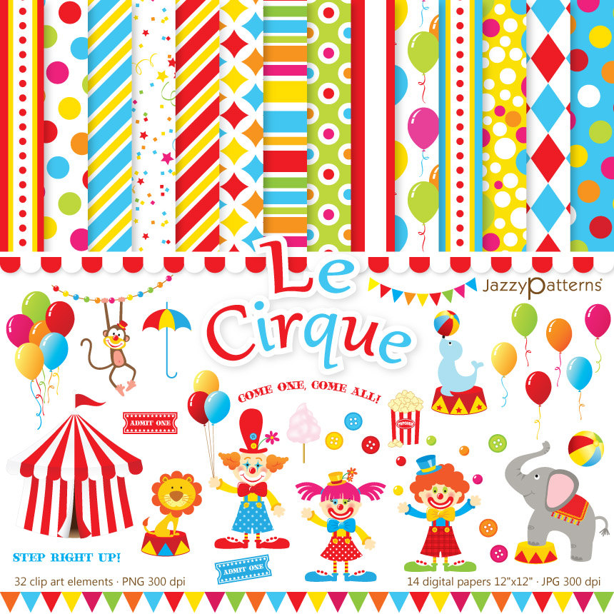 Circus clipart and digital papers pack DK005 instant download.