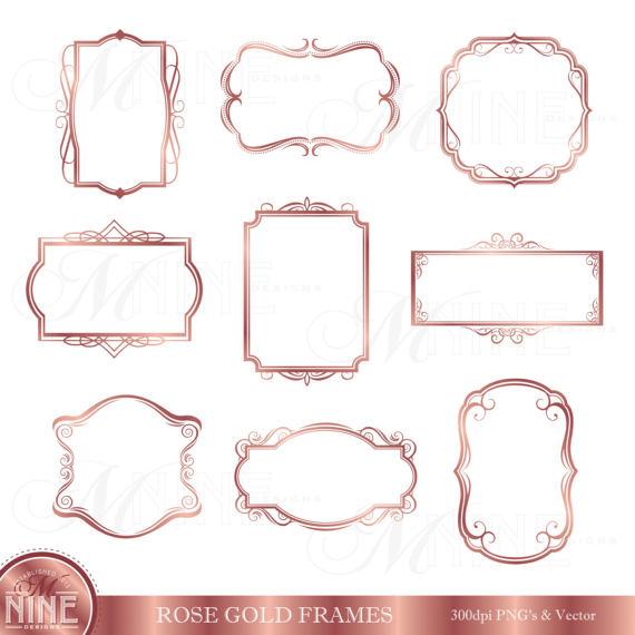 Rose Gold FRAME Clipart / Digital Clip Art Frames / Instant.