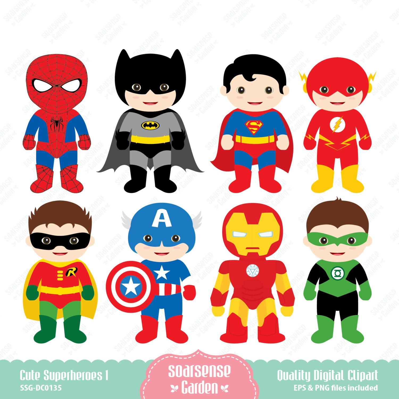 Superhero Inspired Characters Clip Art for Birthdays Digital.