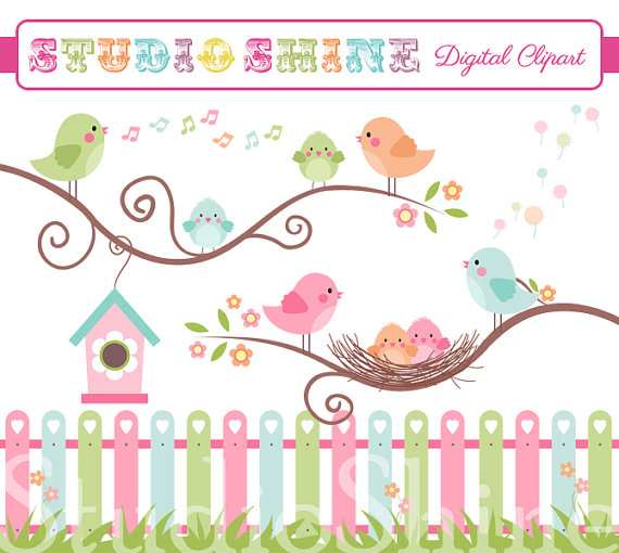 Digital Clipart, The Best Nest, Cute Birds Clip Art, PNG Files.