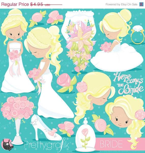 80% OFF SALE Wedding Bride Clipart Commercial Use, Wedding Vector.