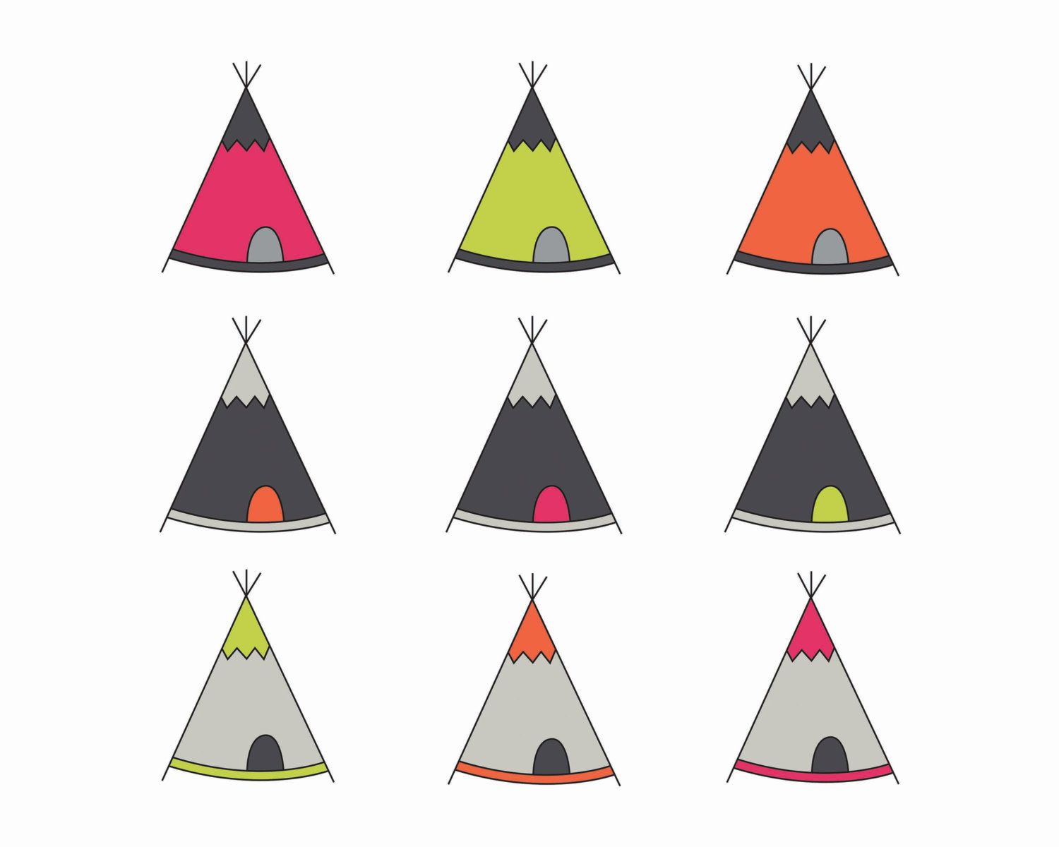 60% OFF SALE Digital Clipart Teepee Tent Clip Art Digital.