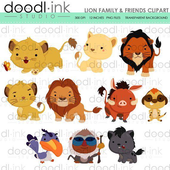 SALE 50% !!! Lion Family & Friends Digital Clipart / Cute.