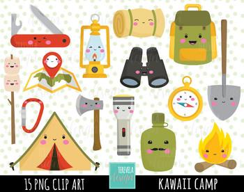 50% SALE CAMP clipart, kawaii clipart, camping digital clipart.
