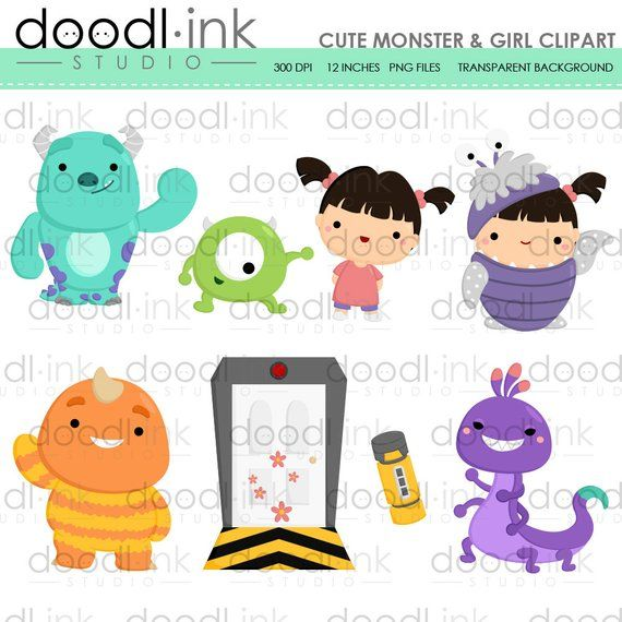 SALE 50%!!! Cute Monster and Girl Movie Digital Clipart.