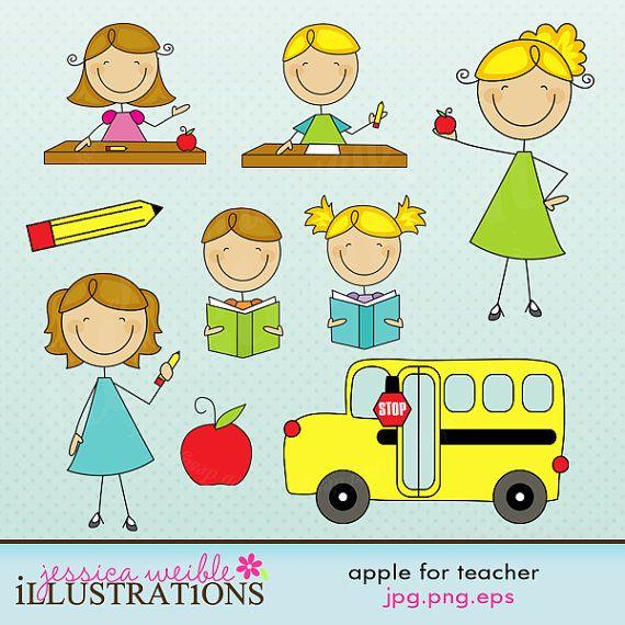 Apple for Teacher Stick Figures Cute Digital Clipart for.