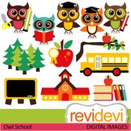 Owl school clip art (back to school clipart) teacher resource digital  graphics.