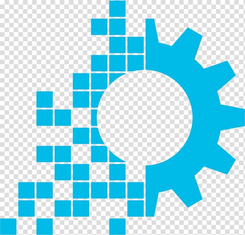 Teal gear illustration, Digital transformation Business.