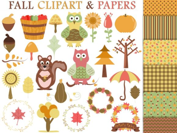 Fall Clipart and Digital Papers.