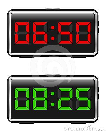 Digital alarm clock clipart.