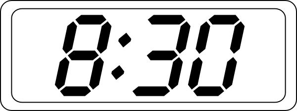 Digital clock clipart black and white.