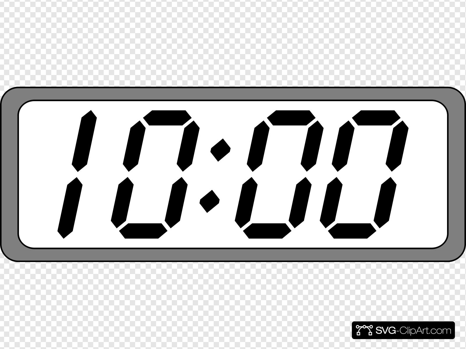 Digital Clock Black & White Clip art, Icon and SVG.
