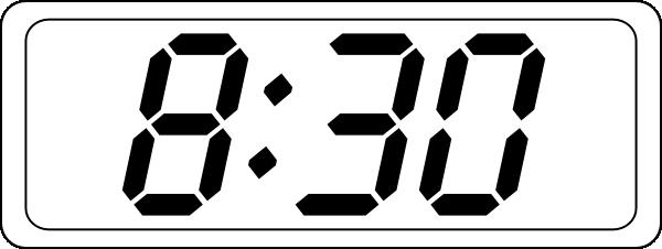 Digital Clock Clipart Black And White.