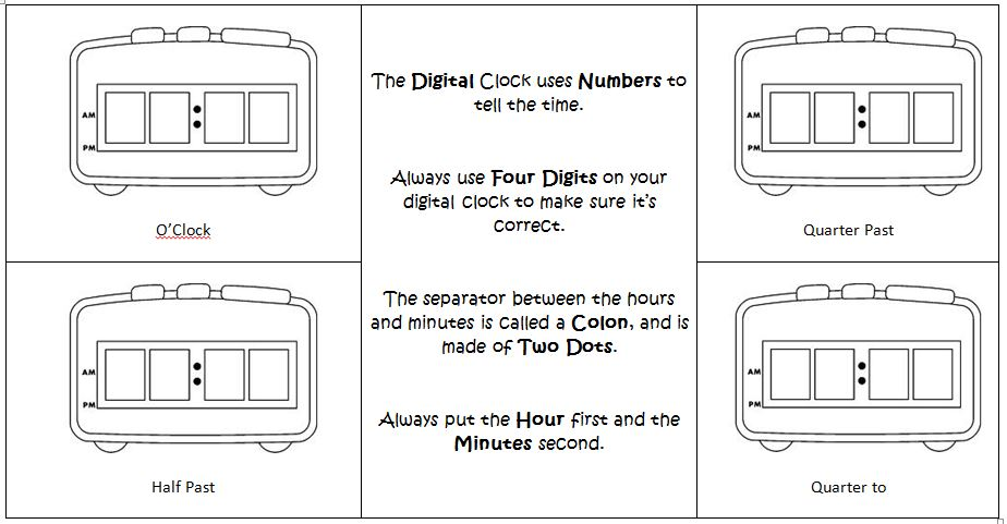 digital clocks worksheet