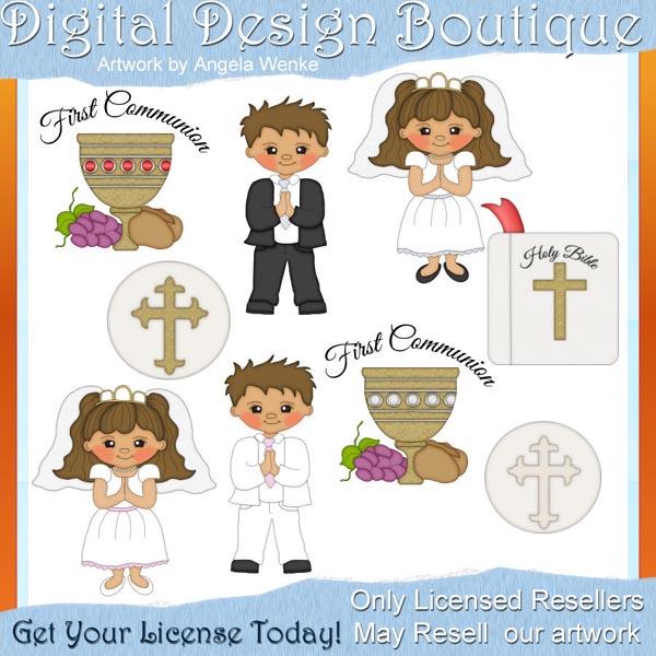 First Communion 1 00 Digital Design Boutique Clipart Clip Art.