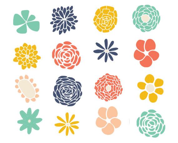 Clipart Sale 60% off, Flower Doodle Clipart, Digital Design, Cute.