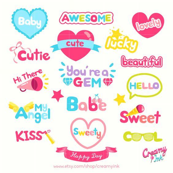 Girl's Day Word Art Digital Vector Clip art / Party Words Digital.