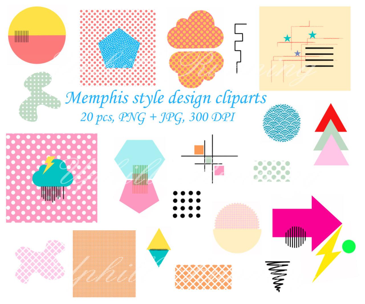 Uphillrunning — Memphis design clipart, 20 pcs 1980s Pop art,.