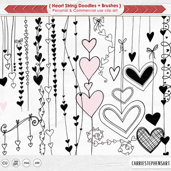 Heart Strings Digital Stamps, Heart ClipArt, Valentine.