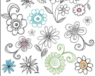 Digital Doodle Swirls Clipart Brushes and Stamps. by.