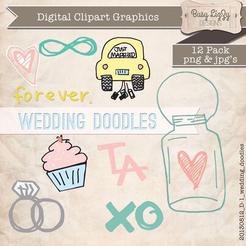 Digital Wedding Doodles Clipart.