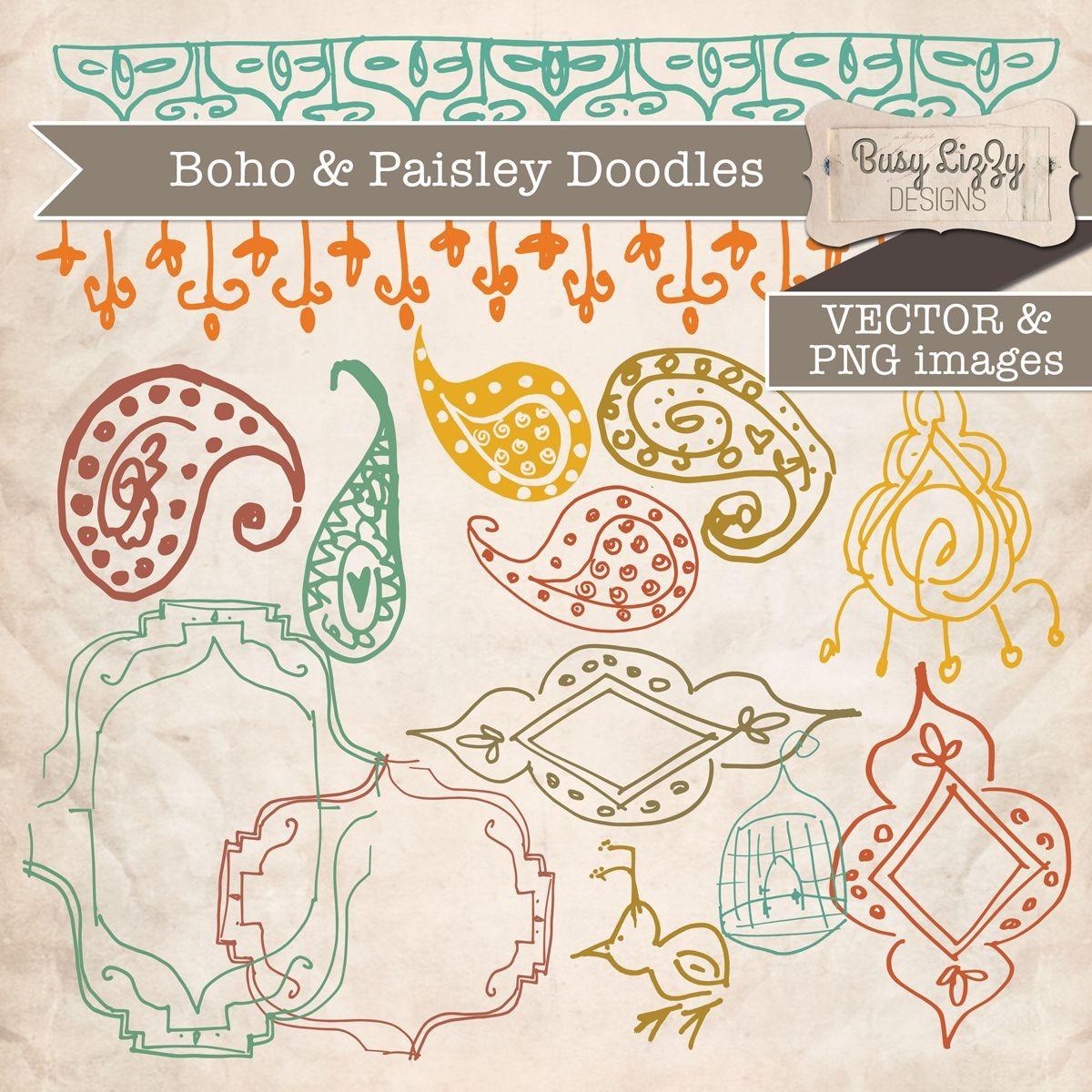 Boho & Paisley Doodles Clipart.