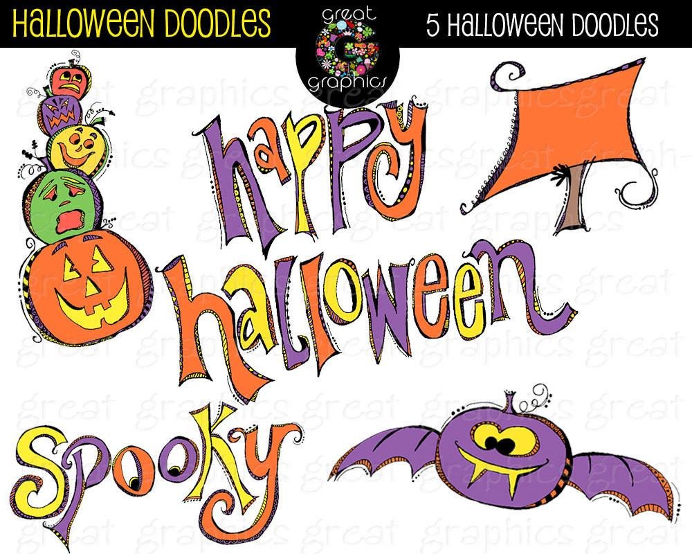 Halloween Clipart Digital Halloween Clip Art Halloween Doodle Whimsical  Clipart Halloween Party Digital Clipart.