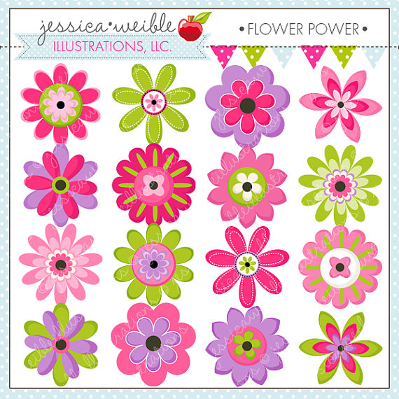 Flower Power Cute Digital Clipart.