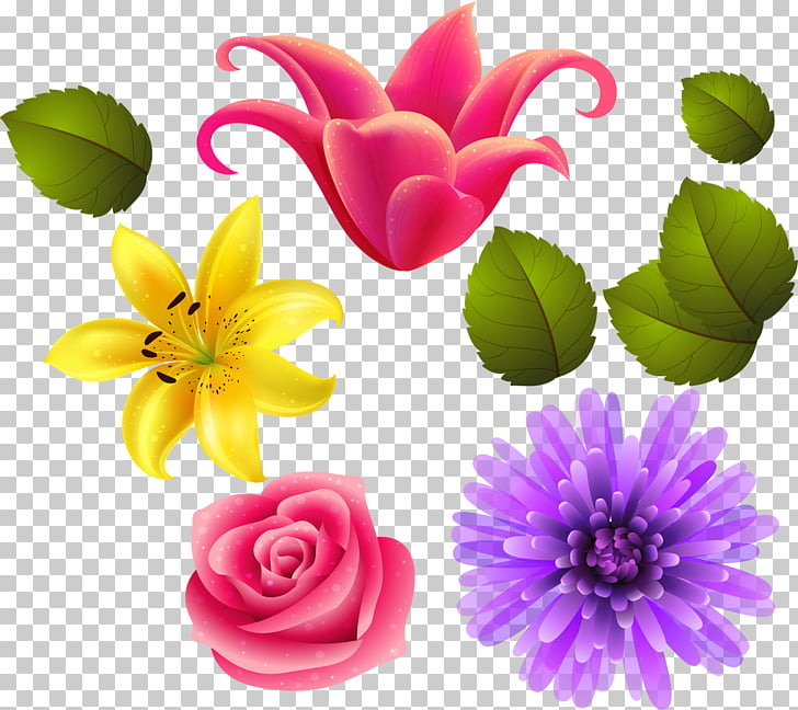 Digital , flower PNG clipart.