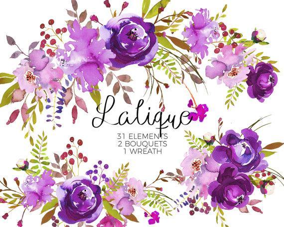 Purple Watercolor Flowers Clipart Set Wedding Floral.