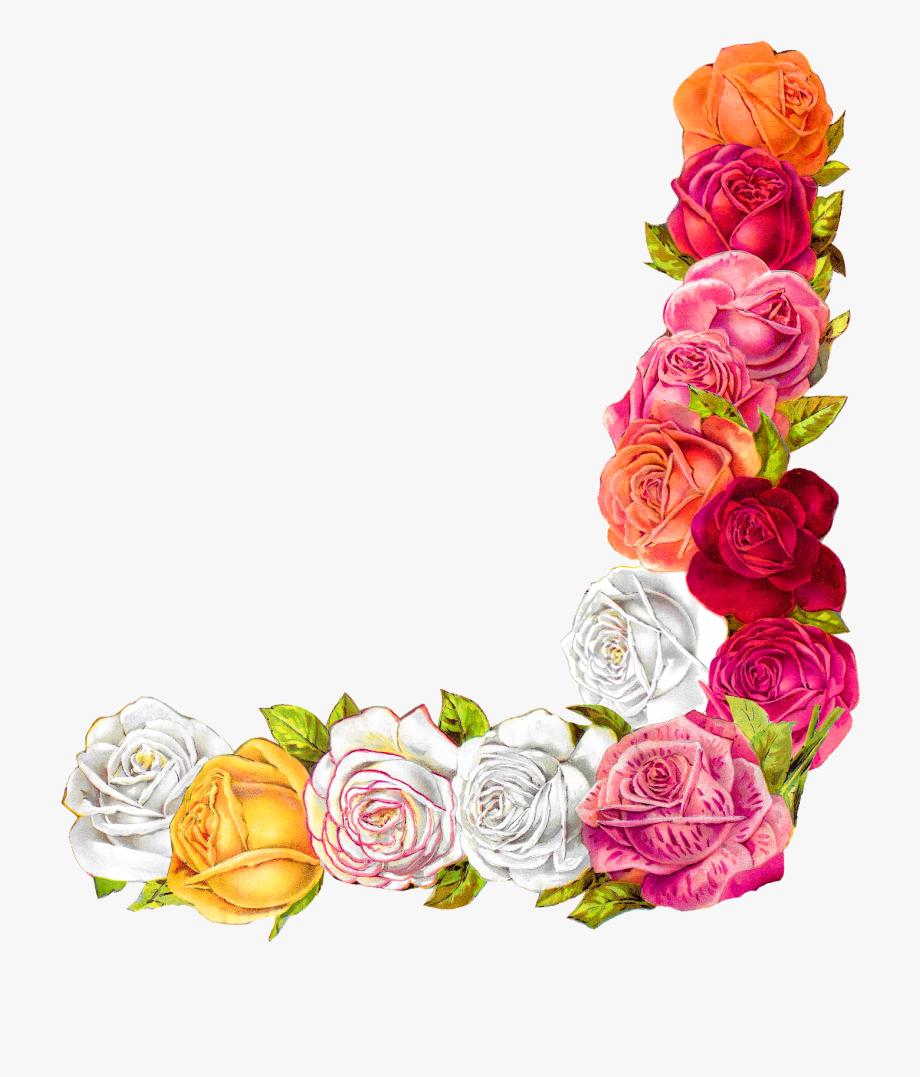 Rose Shabby Chic Flower Border Corner Design Digital.