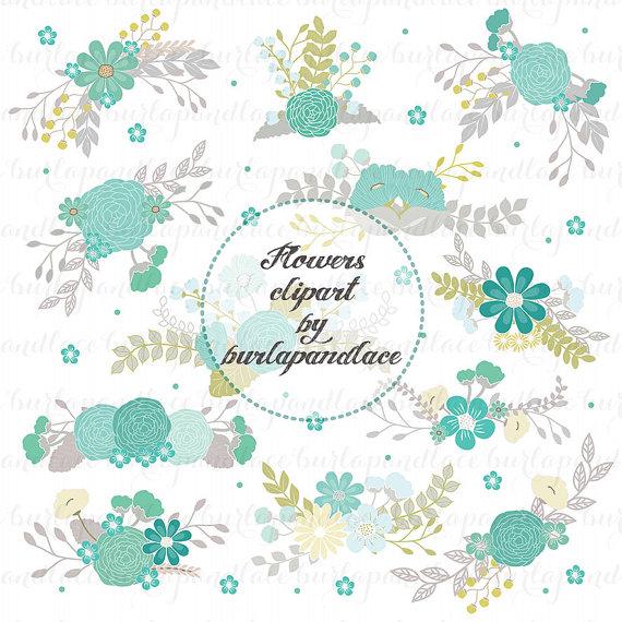 Wedding Floral Clip Art, Hand Illustrated Digital Flowers.