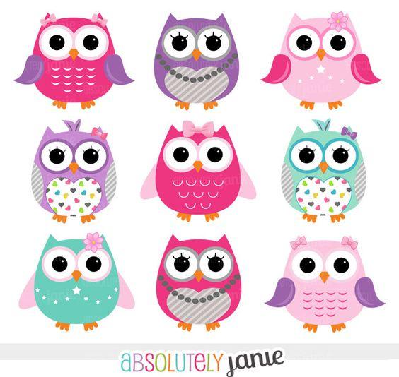 Girly Pink Purple Owls Digital Clipart.