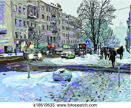 Clipart of digital painting of winter Kiev city landscape, Ukraine.