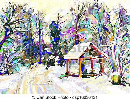 Vectors of digital painting of winter landscape csp16836431.