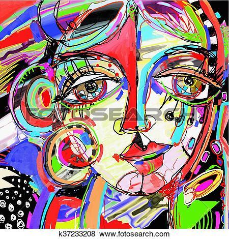 Clip Art of original abstract digital painting of human face.