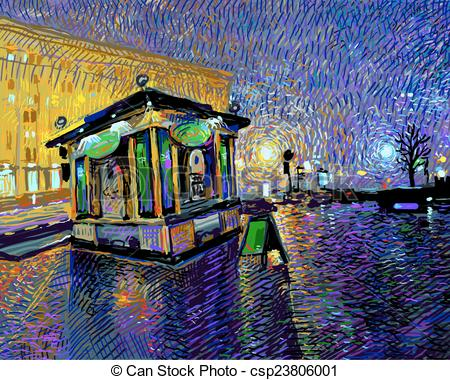 Vector Clipart of digital painting of night Kyiv city.