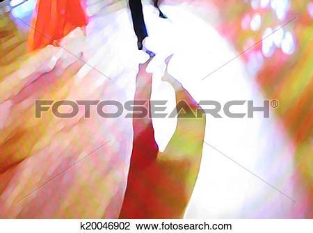 Clip Art of Ballroom dance floor abstract 23, digital painting.