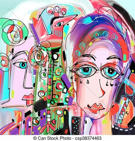 Clip Art Vector of original abstract digital painting of human.