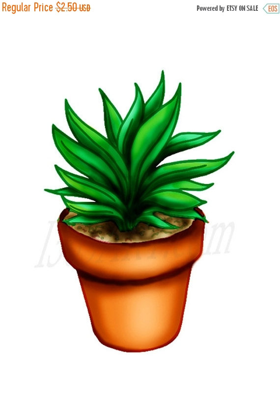 50% OFF Sale Plant In Pot Clipart Digital Painting by I365Art.