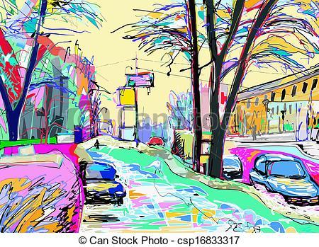 Vector Clip Art of digital painting of winter landscape.